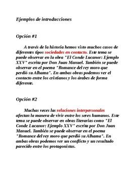 Ap Spanish Literature Edad Media Ejemplos De Introducciones By Mediasrojas