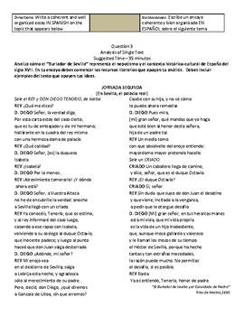 """AP Spanish Literature """"El Burlador de Sevilla"""" Q3 Essay question"""