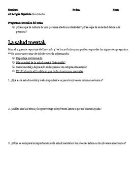 AP Spanish Mental Health Persuasive Essay Prompt