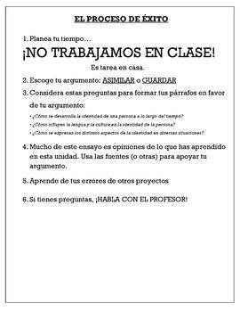 AP Spanish - Persuasive Essay - Personal and Public Identities
