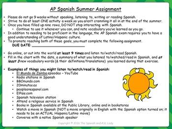AP Spanish Summer Assignment