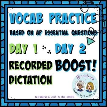 AP Spanish Vocabulary Enrichment Boost! Practice Bundle with Essential Questions