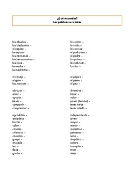AP Spanish Vocabulary List - La Familia