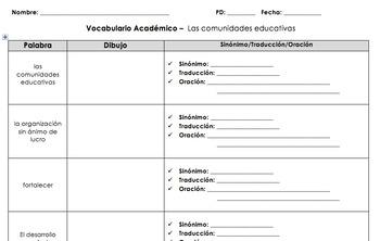 AP Spanish Vocabulary Quiz, Games, Activities. Las familias y las comunidades.