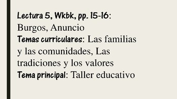 APs Spanish: Reading 5,  Vocabulary and Grammar Preliminary Exercises