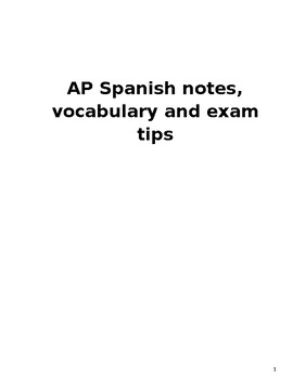 AP Spanish notes, vocabulary, exam tips and cultural information booklet