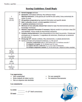 AP Spansh Exam Email Rubric