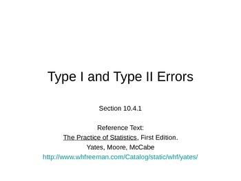 AP Statistics 10.4.1: Type I and Type II Errors
