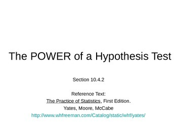 AP Statistics 10.4.2: The Power of a Hypothesis Test