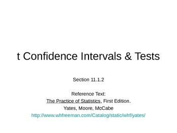 AP Statistics 11.1.2: t Confidence Intervals & Tests