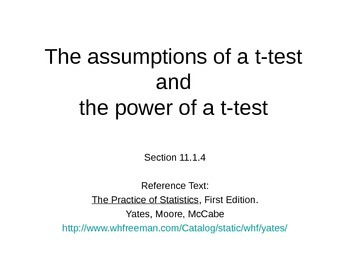 AP Statistics 11.1.4: The assumptions of a t-test and the power of a t-test
