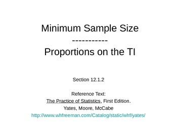 AP Statistics 12.1.2: Minimum Sample Size; Proportions on the TI
