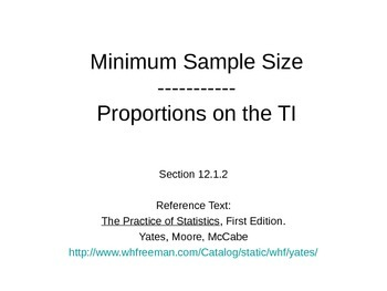 AP Statistics 12.1.2: Minimum Sample Size; Proportions o