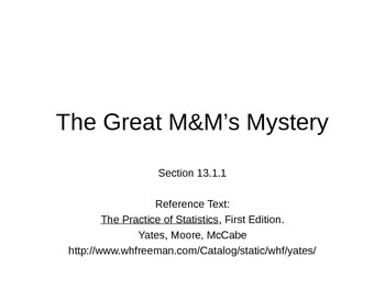 AP Statistics 13.1.1: The Great M&M's Mystery