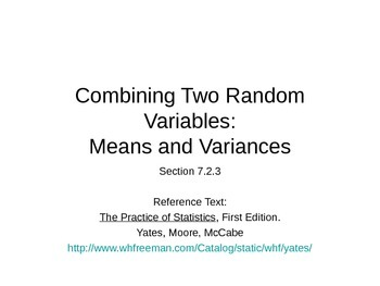 AP Statistics 07.2.3: Combining Two Random Variables: Means and Variances