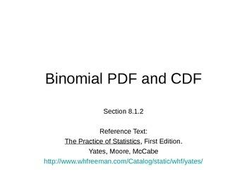 AP Statistics 08.1.2: Binomial PDF and CDF