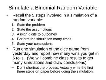 AP Statistics 08.1.3: Simulations with BinomialsMean and S.D. of Binomials