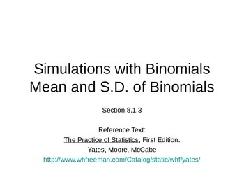 AP Statistics 08.1.3: Simulations with BinomialsMean and