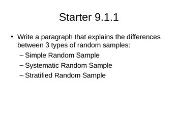 AP Statistics 09.1.1: Sampling Distributions