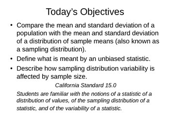 AP Statistics 09.1.2: Describing Sampling Distributions