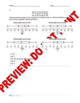 AP Statistics Assessment: Box Plots