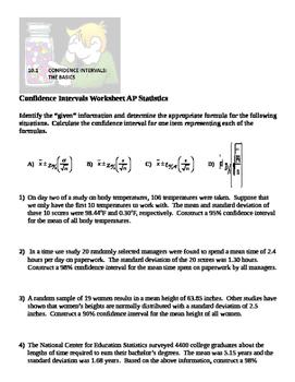 AP Statistics Confidence Intervals (18 Practice Problems)