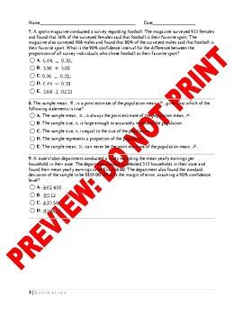 AP Statistics: Estimation Assessment