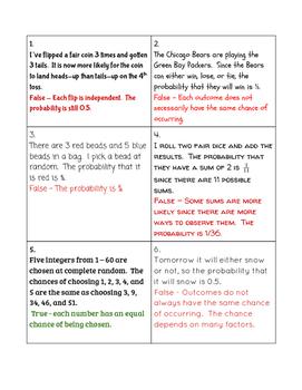 AP Statistics - Probability True-False Sorting Activity