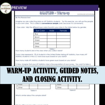 AP Statistics Sampling Guided notes Unit 2 Lesson 1