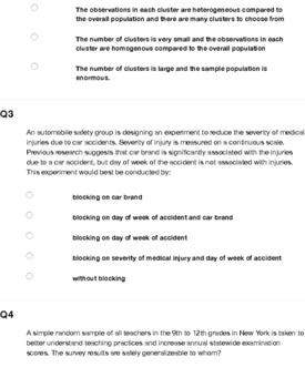 AP Statistics - Sampling and Experimentation Homework / Quiz