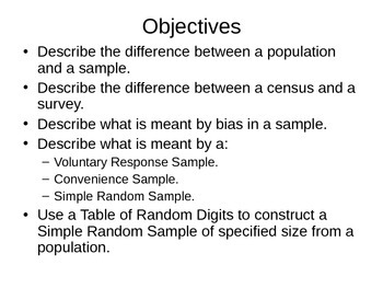 AP Statistics 05.1.1: Simple Random Samples