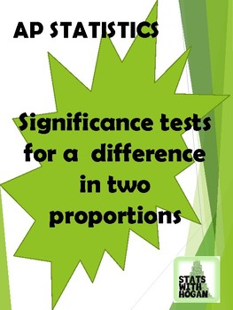 AP Statistics- Significance Tests for Comparing Two Proportions