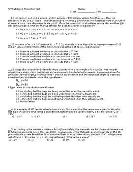 AP Statistics Stats 1  Proportion Z Test TEST