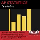 AP Statistics Stats Exploring Data Two Way Tables Boxplot Histogram Worksheet