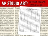 AP Studio Art Drawing, 2D or 3D Design Student Artwork Progress Tracking Sheet