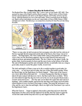 AP The Hundred Years War and War of the Roses: Froissart Decribes Crecy