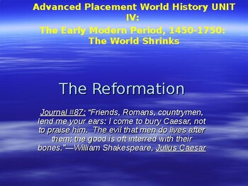 AP The Reformation: Christianity in Conflict