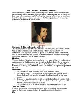 AP The Reformation: Rules Governing Genevan Moral Behavior