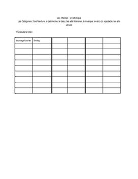 AP Themes review worksheet - Esthétique