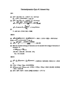 AP Chemistry -  Thermodynamics Quiz Answer Key