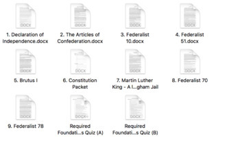 AP U.S. Government Required Foundational Documents and Quiz