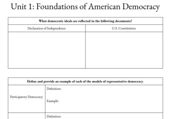 AP U.S. Government and Politics Unit 1 Workbook (ANSWER KEY INCLUDED)