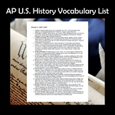 AP U.S. History APUSH Vocabulary List