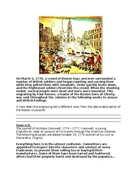 AP U.S. History DBQ Causes of the American Revolution Packet