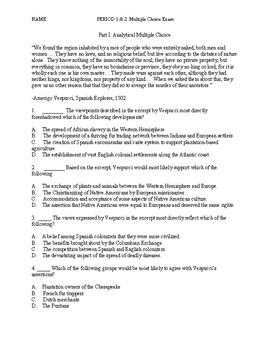 AP U.S. History Period 1 & 2 Analytical Multiple Choice Exam APUSH