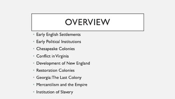 AP U.S. History Period 2 Notes and PowerPoint: Colonies and the British Empire