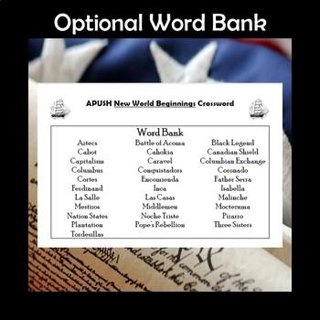APUSH New World Beginnings Vocabulary Review Crossword Puzzle