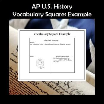 AP U.S. History Vocabulary Squares Period 1 1491-1607 APUSH