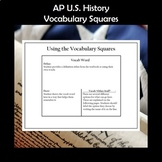 AP U.S. History Vocabulary Squares Bundle for the Entire Year APUSH