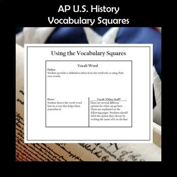 AP U.S. History Vocabulary Squares Period 7 1890-1945 APUSH